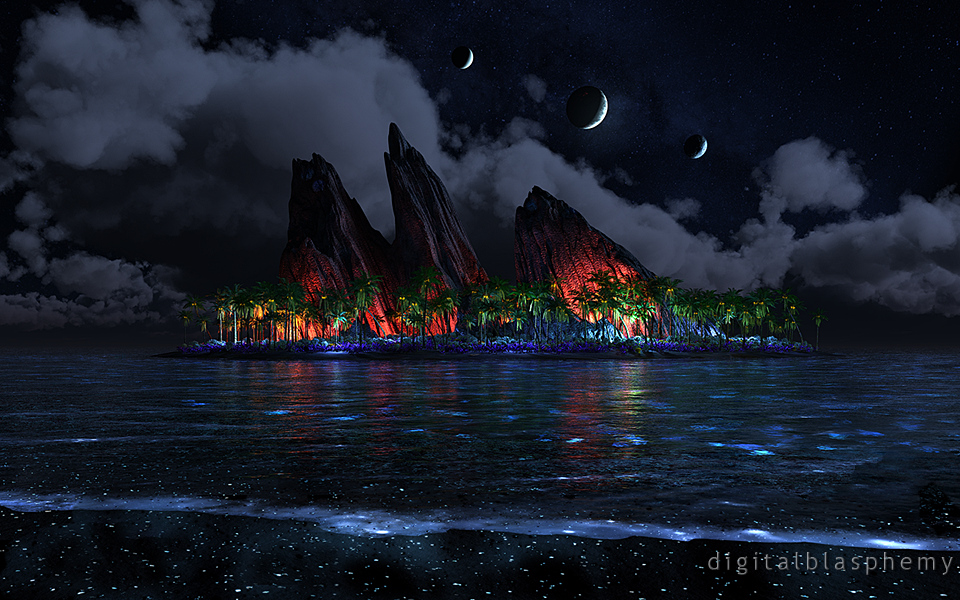 Digital Blasphemy 3D Wallpaper: Endless Blue (Night) by ...