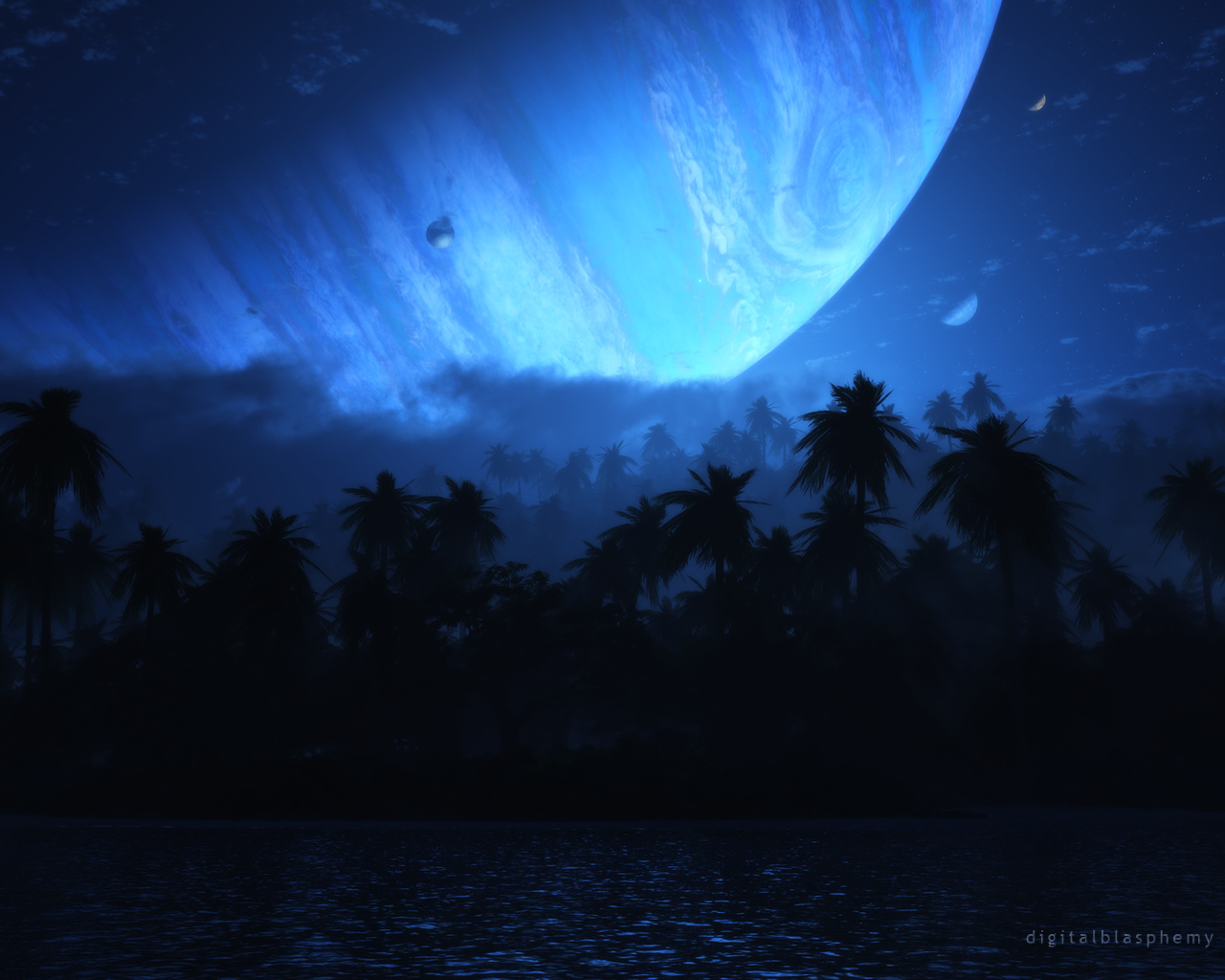 Digital Blasphemy 3D Wallpaper: Atoll (Nightfall) (2012) FREE