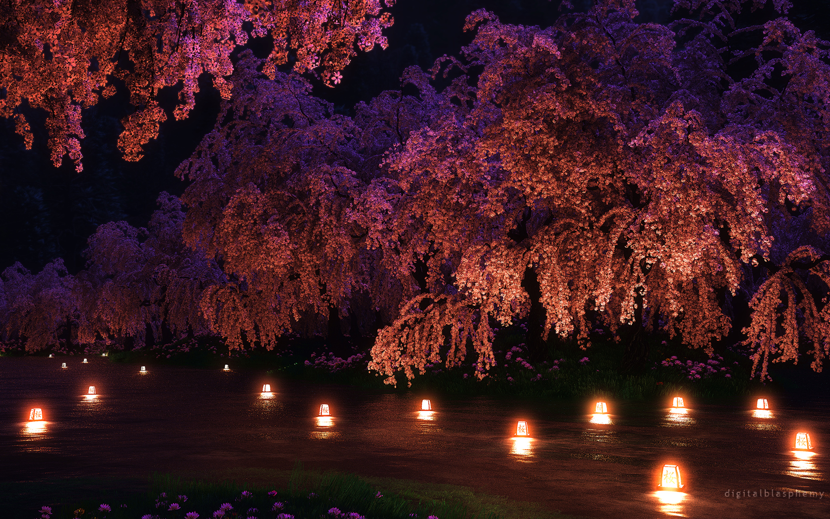 Digital Blasphemy 3d Wallpaper Sakura Night 2013 Free